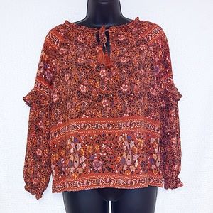 American Eagle Sm Peasant Orange Floral Boho Top